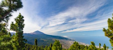 Panorama of El Teide volcano and Orotava valley from Mirador de Chipeque, Tenerife, Canary Islands, Spain