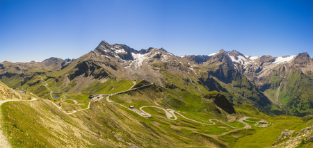 hochalpenstrasse: Panoramic view on Grossglockner High Alpine Road, Austria. Range of mountain peaks and highland serpentines