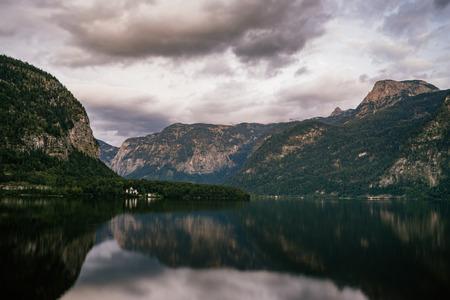 long lake: Twilight view of Hallstatter lake, Austria. Long exposure image Stock Photo