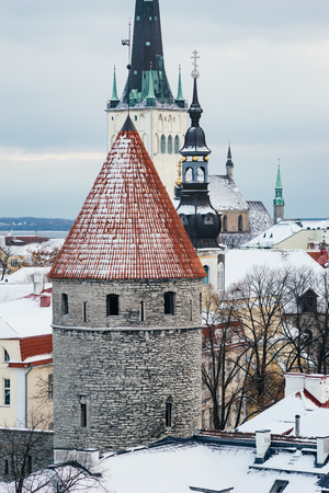 Winter view on historical roofs of old town of Tallinn, Estonia Stock Photo