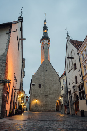 showpiece: TALLINN, ESTONIA - OCTOBER 30, 2016: Tallinn town hall or Tallinna raekoda. It was built in 1402-1404 as a meeting place for the ruling burgomeisters and has been a showpiece of the city ever since.