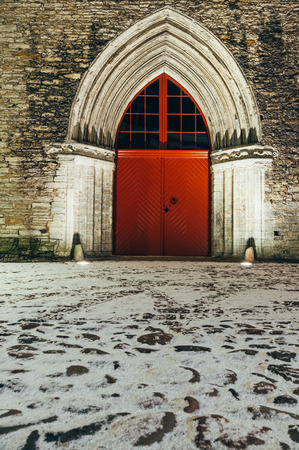 surviving: Surviving portal of Saint Catherines Dominican Monastery, one of the oldest buildings in Tallinn, Estonia Stock Photo