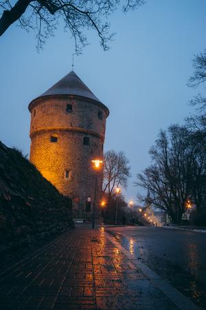 Kiek in de Kok, medieval fortification tower in twilight, Tallinn, Estonia Stock Photo