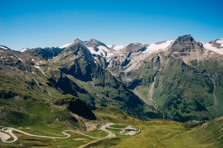 Grossglockner High Alpine Road, Austria. Range of mountain peaks and highland serpentines Stock Photo