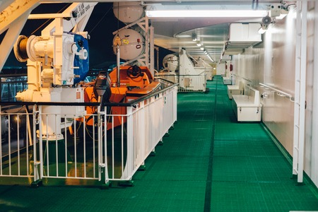 STOCKHOLM, SWEDEN - 11 JAN 2017: Rescue boat on promenade deck of Baltic Queen cruiseferry owned by the Estonia-based ferry operator Tallink. Editorial