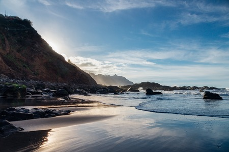 Benijo beach or Playa de Benijo against golden hour sunlight, Tenerife island, Spain