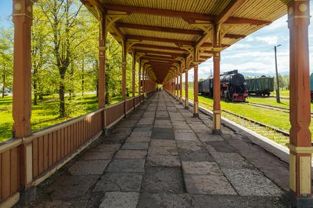 inoperative: HAAPSALU, ESTONIA - MAY 24, 2015: Platform of inoperative vintage style station in Railway and Communications Museum. Editorial