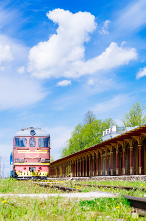 Retro locomotive train and inoperative railway station in Haapsalu, Estonia
