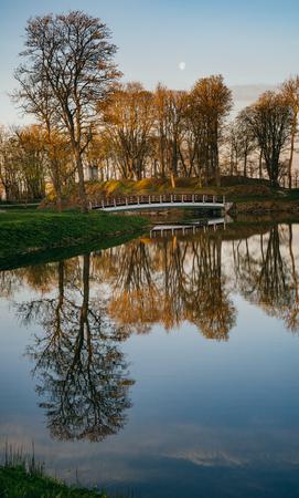 Springtime sunrise over Kuressaare town park, Saaremaa, Estonia