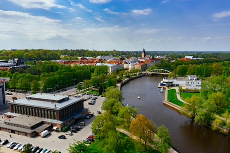 Springtime cityscape of Tartu town. From above view on sunny day