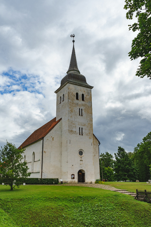 St. John's Church against stormy clouds, Viljandi, Estonia