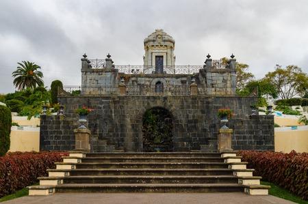 Mausoleum in the Jardines del Marquesado de la Quinta Roja or Jardin Victoria park, La Orotava, Tenerife, Canary Islands, Spain