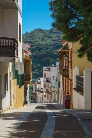 Teror, Spain - February 27, 2018: One of the attractive streets in Teror, popular tourist destination on Gran Canaria island.