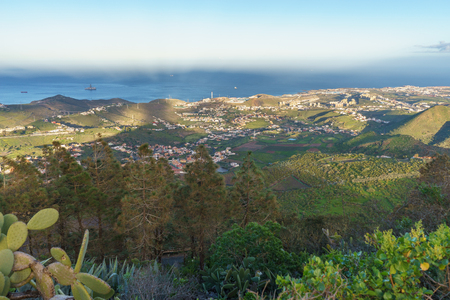 Sunset view from Pico de Bandama to the north-east coast of Gran Canaria, Canary islands, Spain Stock Photo
