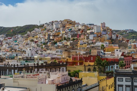 Colorful residential buildings in the city of Las Palmas, Gran Canaria, Canary Islands, Spain