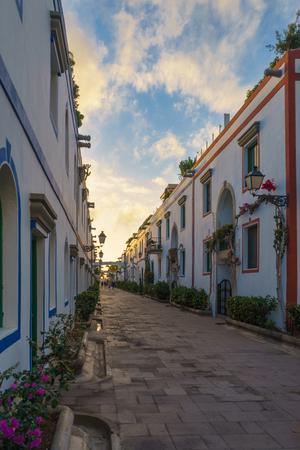 Beautiful street of Puerto Mogan in sunset light, Gran Canaria, Canary islands, Spain