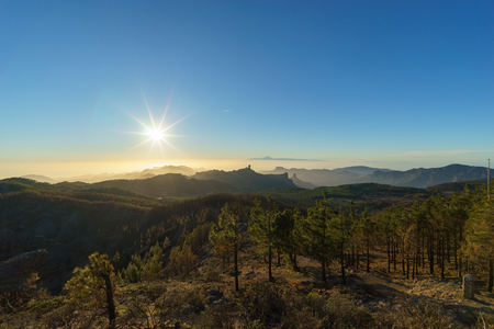 Evening sun over mountains of Gran Canaria, Canary islands, Spain