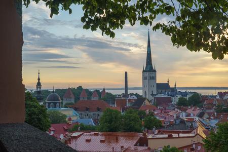 Calm morning over old town of Tallinn, Estonia