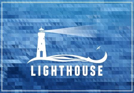 lighthouse at night: poscard, cartel, s�mbolo con el fondo azul del mar Vectores