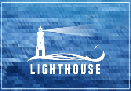 lighthouse beam: poscard, poster, symbol with sea-blue background
