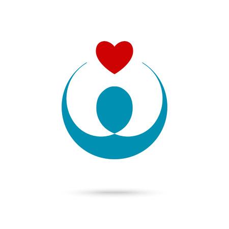 Vector illustratie van het hart in handen symbool, pictogram, embleem sjabloon voor Non profit stichting