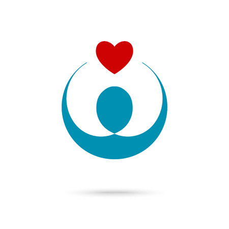 volunteering: Vector illustration of heart in hands symbol, icon, logo template for Non profit Foundation