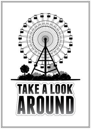 Silhouet van een reuzenrad op het park. Typografie kaart vector illustratie eps 10