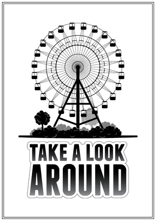 tranquil scene on urban scene: Silhouette of a ferris wheel at the park. Typography card vector illustration eps 10 Illustration