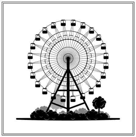 Silhouette of a ferris wheel in the park vector illustration eps 10 Çizim