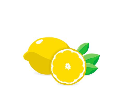 citric: Vector illustration. Fresh lemons with leaves. Eps 10