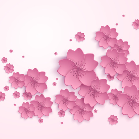 asian gardening: Beautiful abstract floral trendy background with pink 3d flower sakura. Stylish modern background. Greeting or invitation card for wedding, birthday and life events. Vector illustration eps 10
