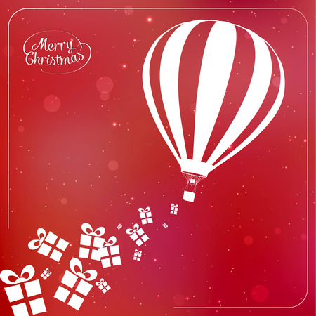 spilling: Christmas background with present boxes, ribbons and hot air balloon spilling gifts. Vector illustration eps 10 Illustration