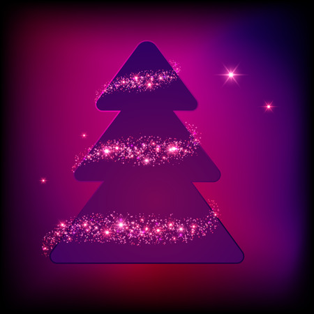 star shape: Christmas Tree with sparkles vector holiday card eps 10 Illustration