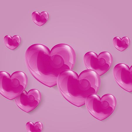 polkadot: An illustration of a bright shiny pink polka-dot hearts. Vector Valentines card eps 10