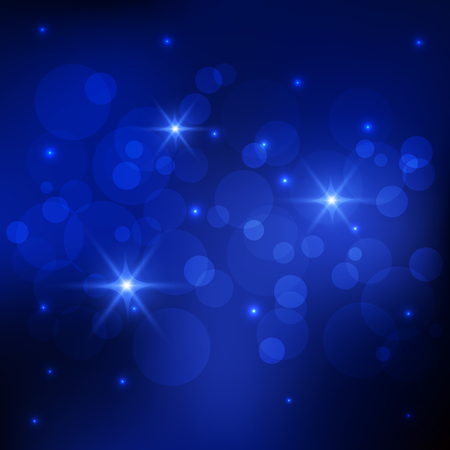 deep blue: Bokeh and sparkles deep blue background, Vector eps10
