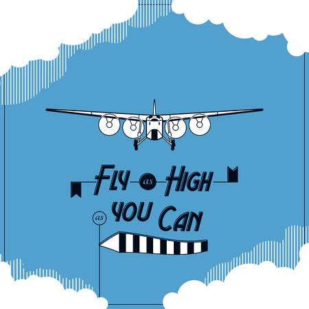 warlike: Vector retro plane typographic card illustration eps 10