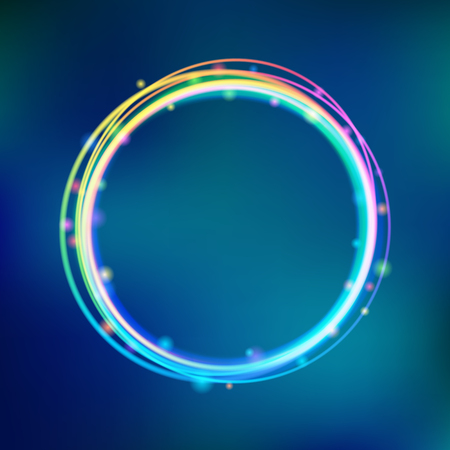 Rainbow glowing circle frame with sparkles. Çizim