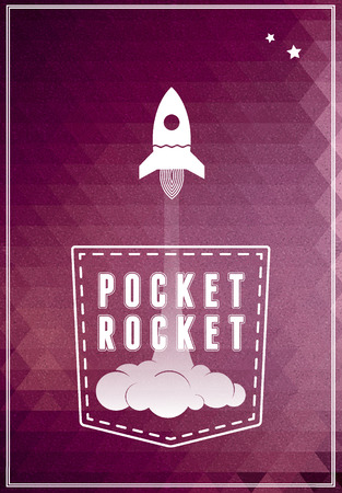 rocket ship: Space ship vector symbol icon. Pocket Rocket conceptual poster, poscard Illustration