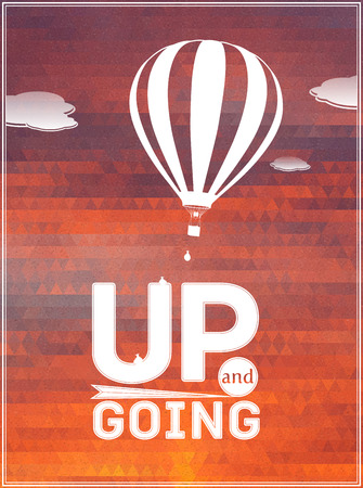 flying balloon: hot air balloon in the sky: vector illustration, typographic poster, greeting card Illustration