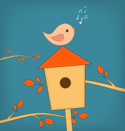 anybody: Simple card illustration of funny cartoon bird on bird house. Vector illustration