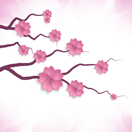 a bough: Cherry blossom. Sakura branch vector illustration  .