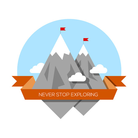 snow capped: Vector illustration of mountain low-poly style