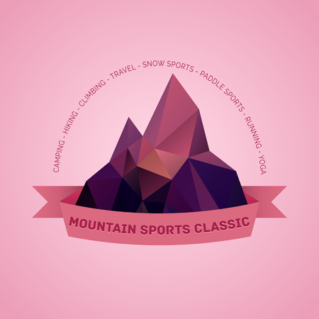 woodsman: Mountain themed outdoors emblem   with list of various sports activities Illustration