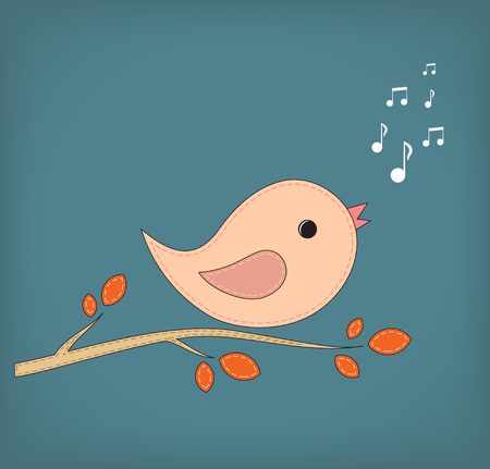 anybody: Simple card illustration of funny cartoon bird on branch