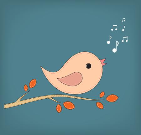 Simple card illustration of funny cartoon bird on branch