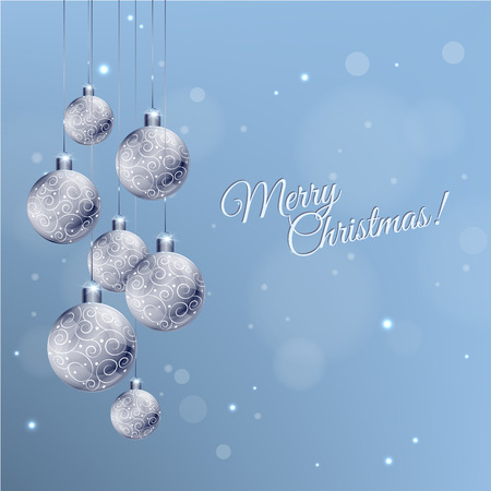 christmas elements: Christmas card with silver decorated balls in white and blue, vector illustration