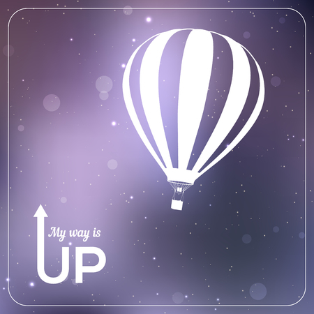 air travel: My way is UP hot air balloon vector illustration. White silhouette in vibrant sparkling violet background
