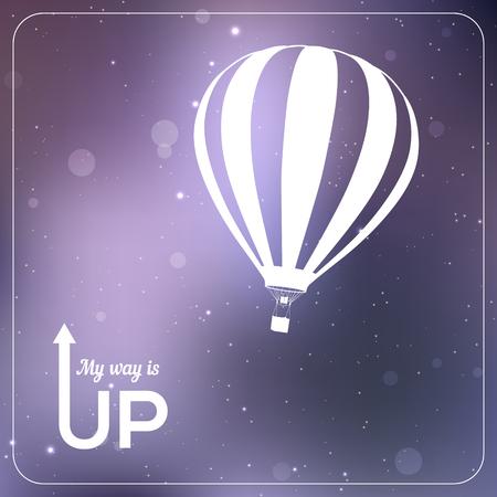 """caliente: """"Mi camino es hacia arriba"""" ilustraci�n vectorial de globo de aire caliente. silueta blanca en el fondo violeta brillante vibrante"""