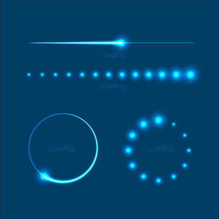 Collection of modern glowing preloaders and progress loading bars