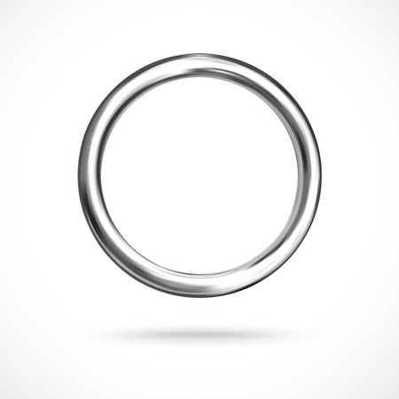Silver ring copyspace torus round vector empty frame